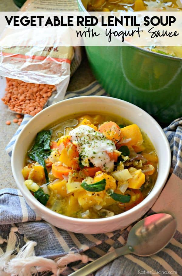 Vegetable Red Lentil Soup with Yogurt Sauce Recipe #StonyfieldBlogger