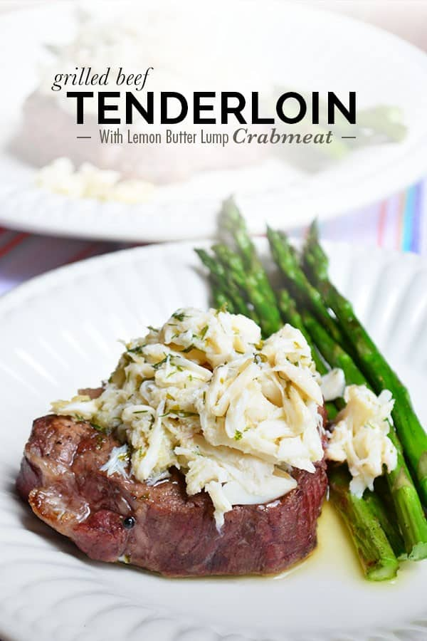the best Grilled Beef Tenderloin with Lemon Butter Lump Crabmeat recipe