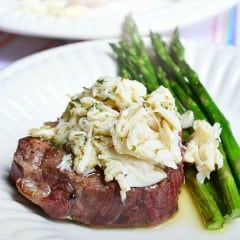 Grilled Beef Tenderloin with Lemon Butter Lump Crabmeat