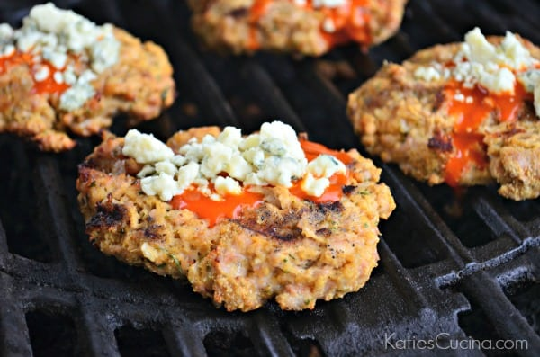 buffalo chicken burgers on the grill