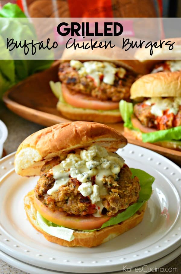 Grilled Buffalo Chicken Burgers #KHGameTime #Ad