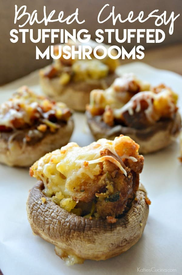 Baked Cheesy Stuffing Stuffed Mushrooms