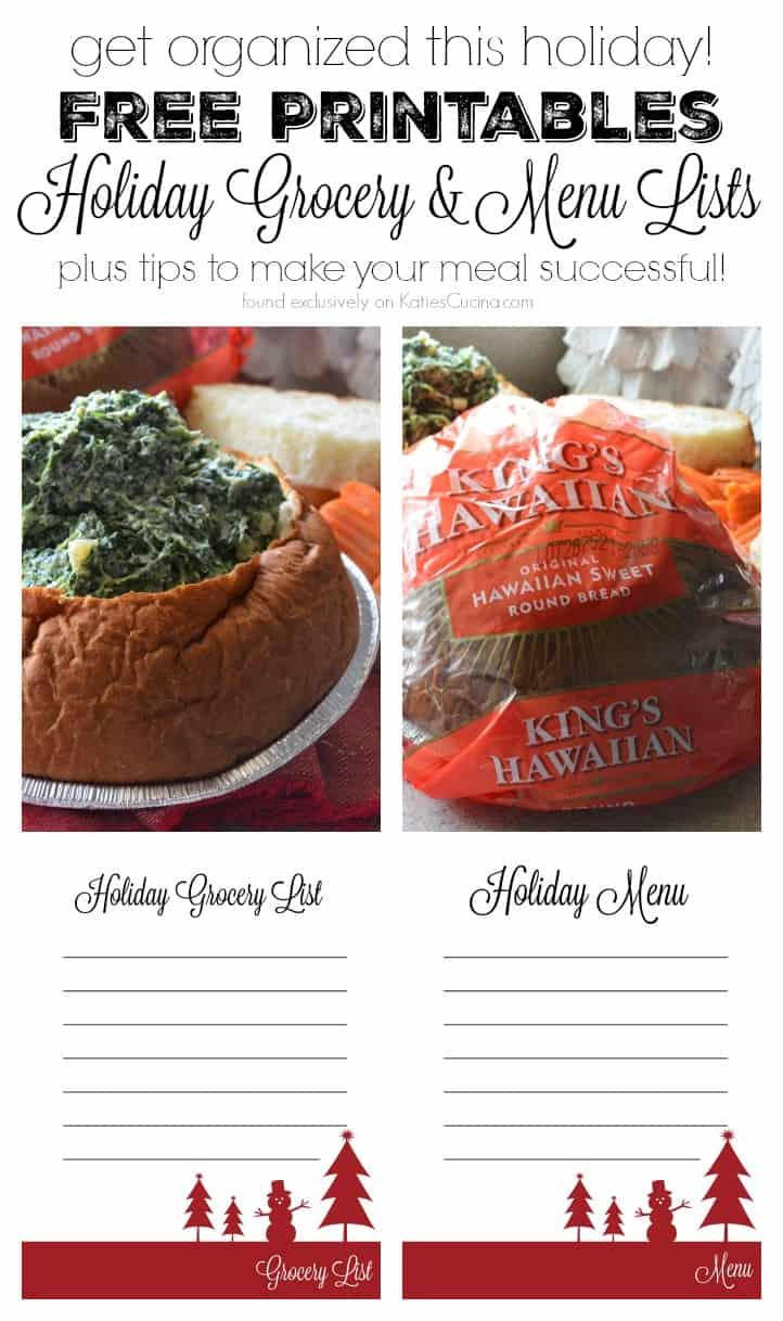 Free Printables - Holiday Grocery & Menu Lists!