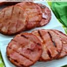 Grilled Honey Bourbon Glazed Ham Steaks Recipe