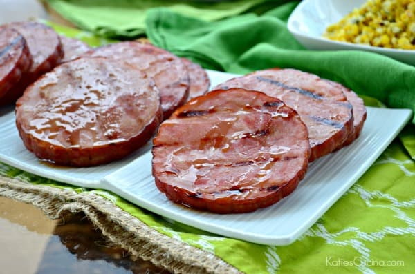 Grilled Honey Bourbon Glazed Ham Steaks