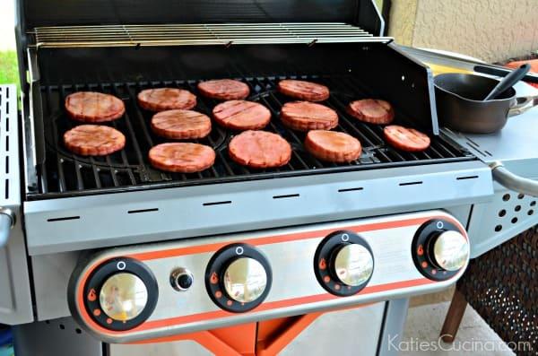 Grilled Honey Bourbon Glazed Ham Steaks