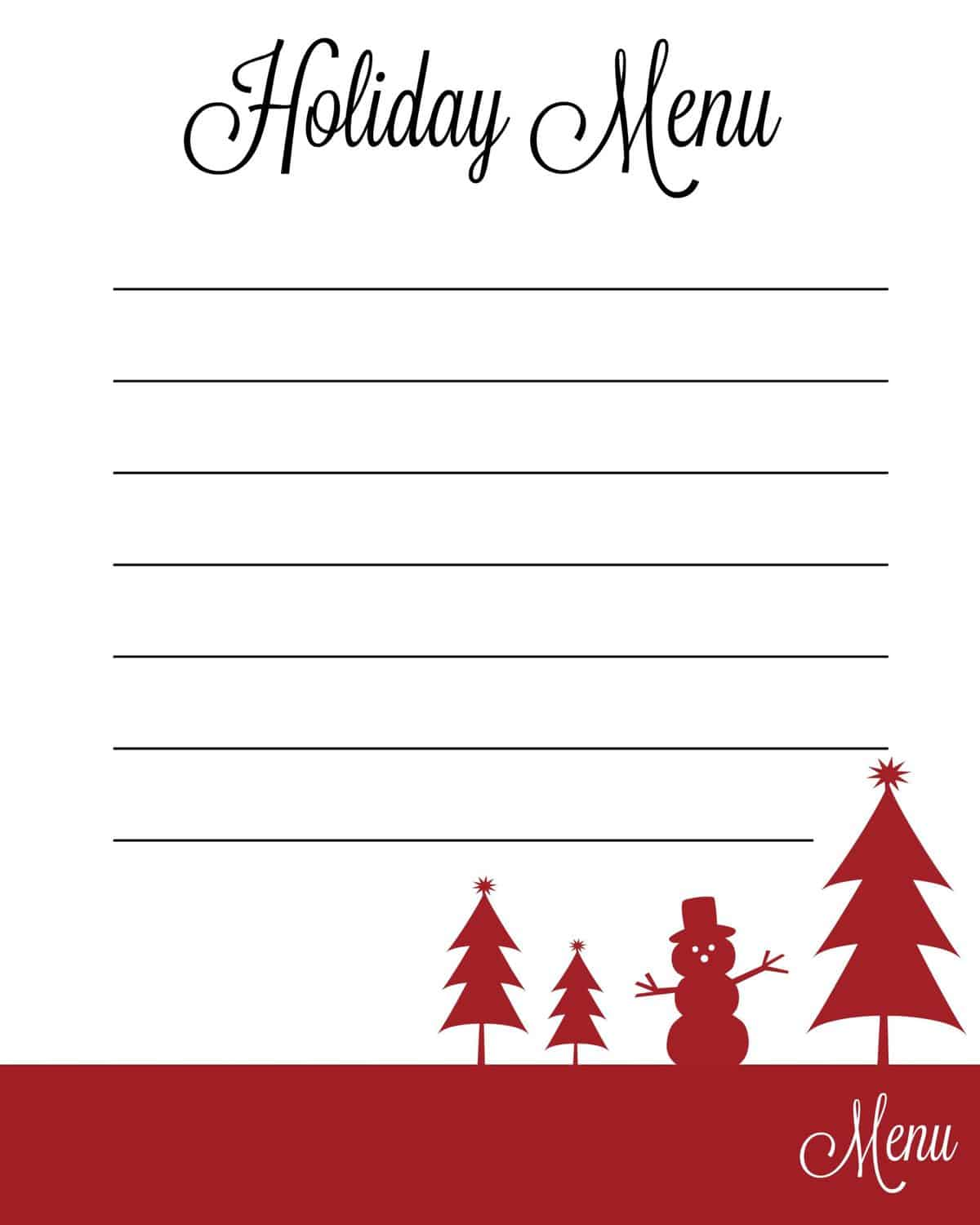 Holiday planning tips free printable lists hostwithkh for Planner cucina gratis