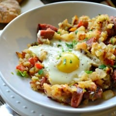 Horizontal photo of the Kielbasa Breakfast Skillet with Eggs in a bowl