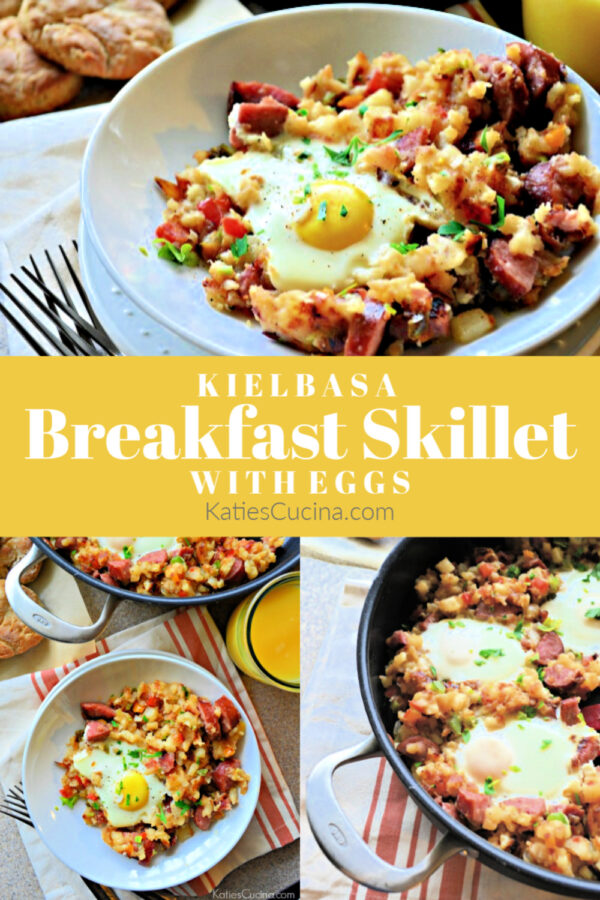 Kielbasa Breakfast Skillet with Eggs photo collage with title text for pinterest.