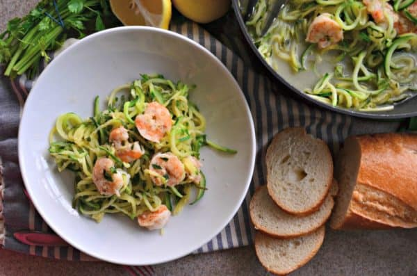 One Pot Zoodle Shrimp Scampi