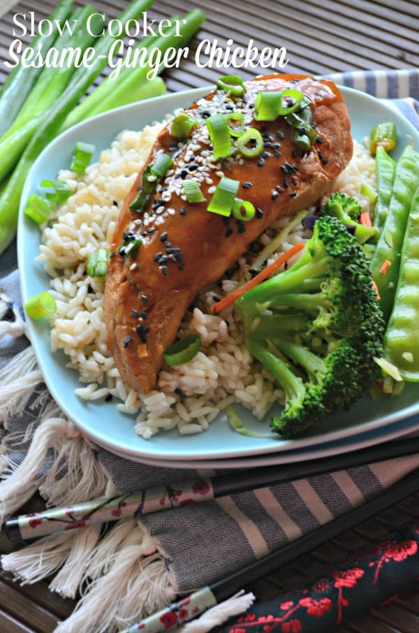 Slow Cooker Sesame-Ginger Chicken - Katie\'s Cucina