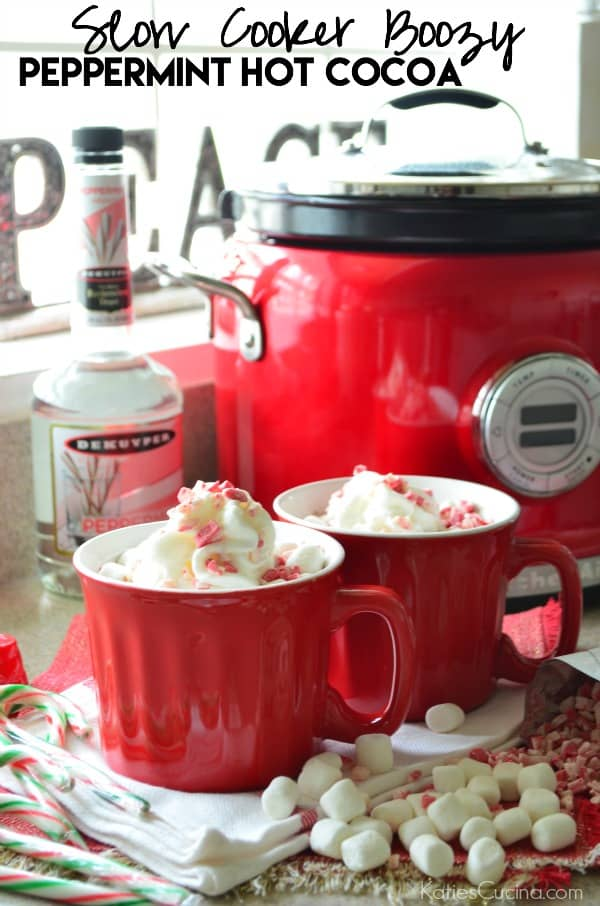 Slow Cooker Boozy Peppermint Hot Cocoa