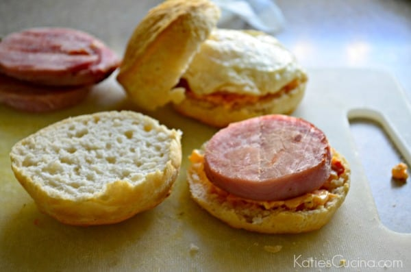 Southern Biscuit Breakfast Sandwiches - pimento and ham steak