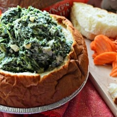Yogurt Parmesan Spinach Dip in a King's Hawaiian Sweet Round Bread Bowl