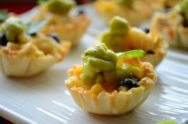 Mini Cheesy Chicken, Black Bean, and Corn Fillo Cups Recipe