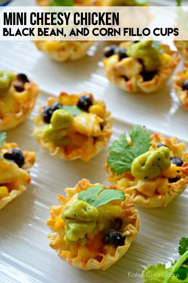 Mini Cheesy Chicken, Black Bean, and Corn Fillo Cups