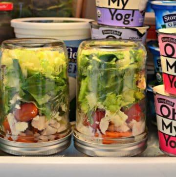 Salad in a Jar with Feta and Dill Greek Yogurt Dressing