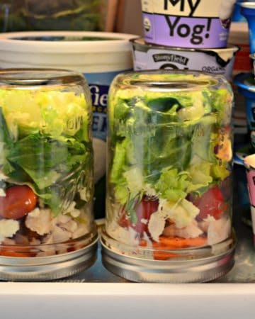 Salad in a Jar with Feta and Dill Greek Yogurt Dressing