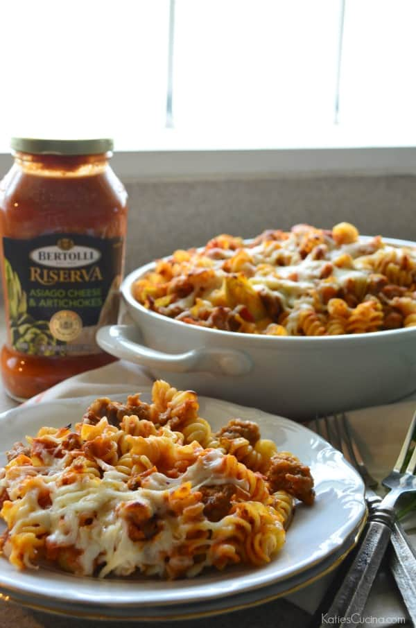Sausage and Artichoke Pasta Bake #VivaBertolli #Ad