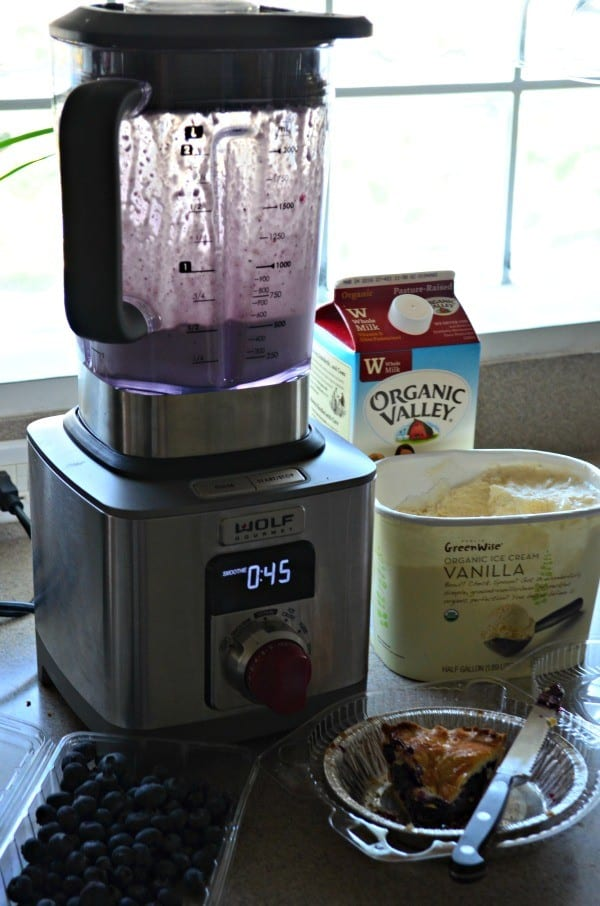 Blueberry Pie Milkshake made in the Wolf Gourmet High Performance Blender!