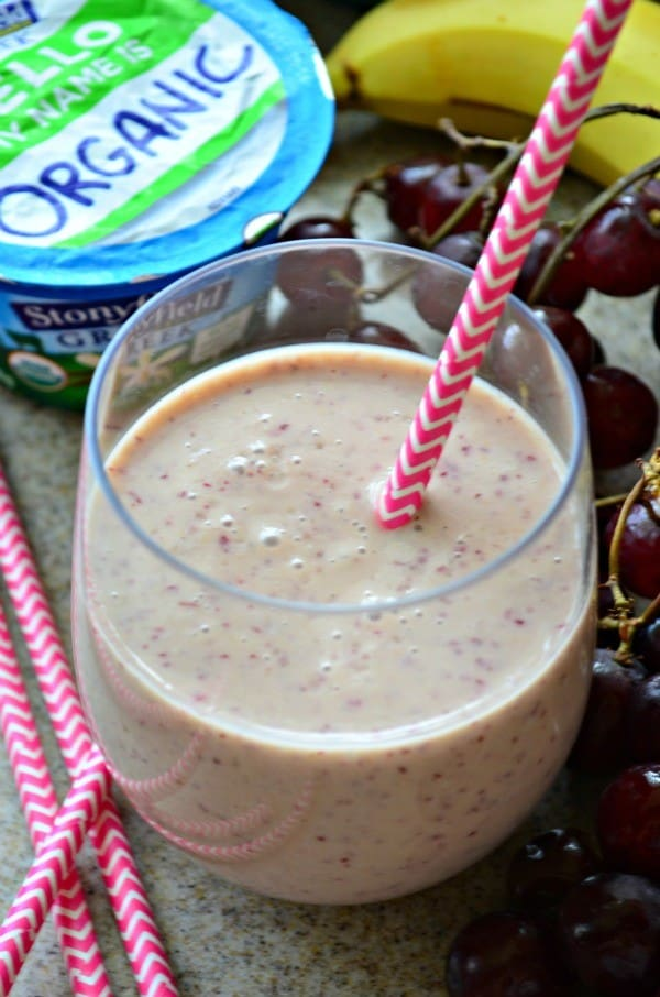 """Peanut Butter """"Jelly"""" and Banana Smoothie"""