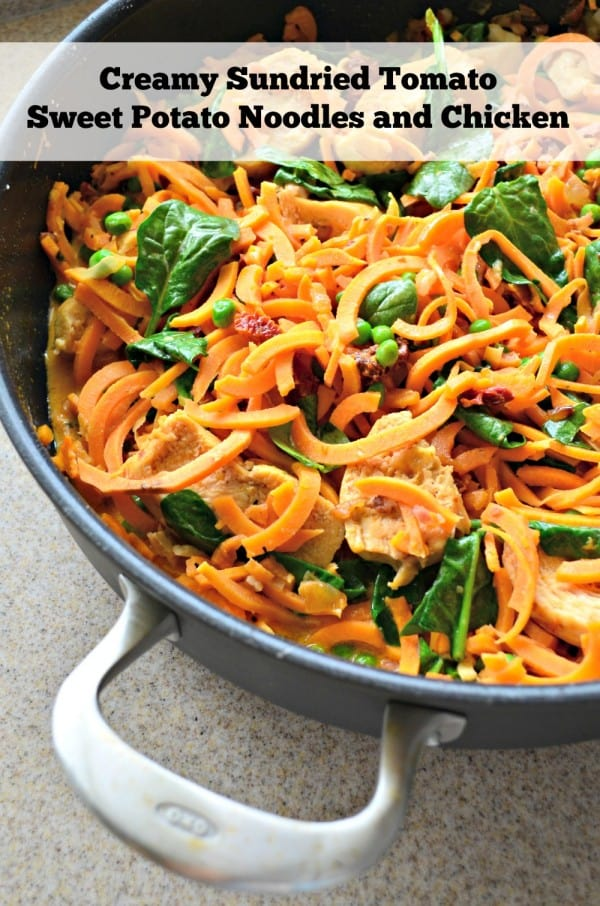 Creamy Sundried Tomato Sweet Potato Noodles and Chicken Recipe using the @OXO Spiralizer