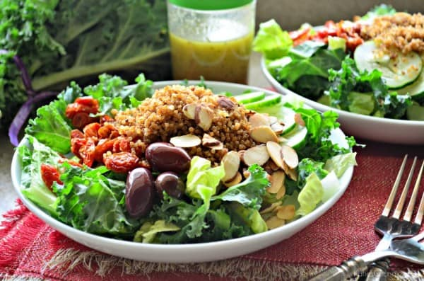 Copycat Panera Salad -- Mediterranean Quinoa Salad with Sliced Almonds Recipe