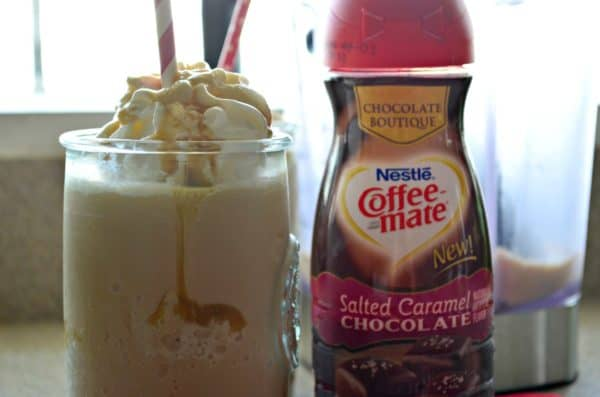 Salted Caramel Chocolate Frappuccino Recipe o #ChocolateBoutique, #ButFirstCoffeeMate, #ad