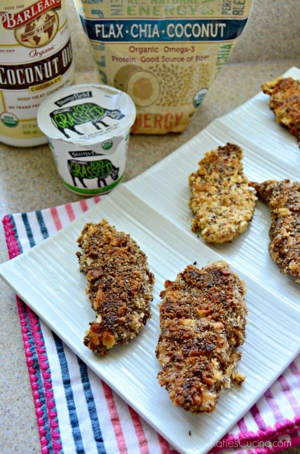 Flax Chia Coconut Yogurt Chicken Strips #StonyfieldBlogger