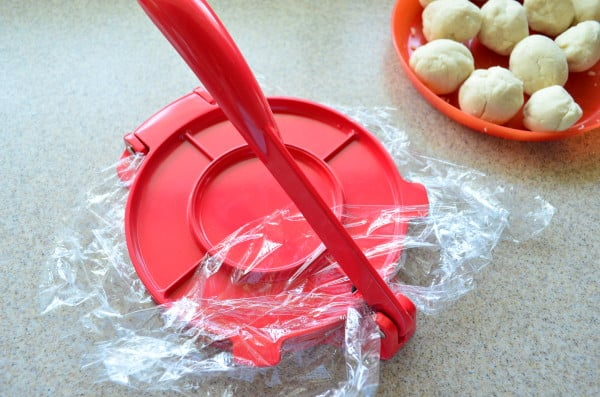 Homemade Corn Tortillas - step 3 press dough
