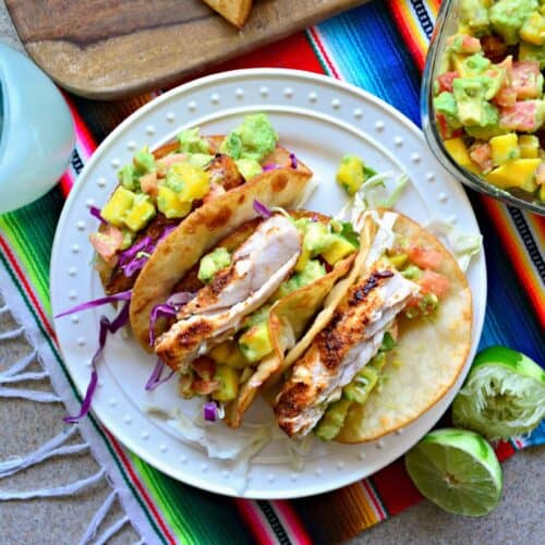 Mahi Mahi Fish Tacos with Mango Avocado Salsa