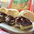 Barbecue Cheddar, Mushroom, Onion Sliders