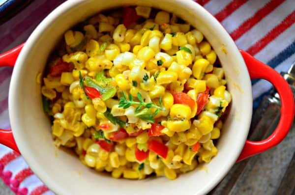 Fresh Corn Saute with Green Onions and Red Peppers