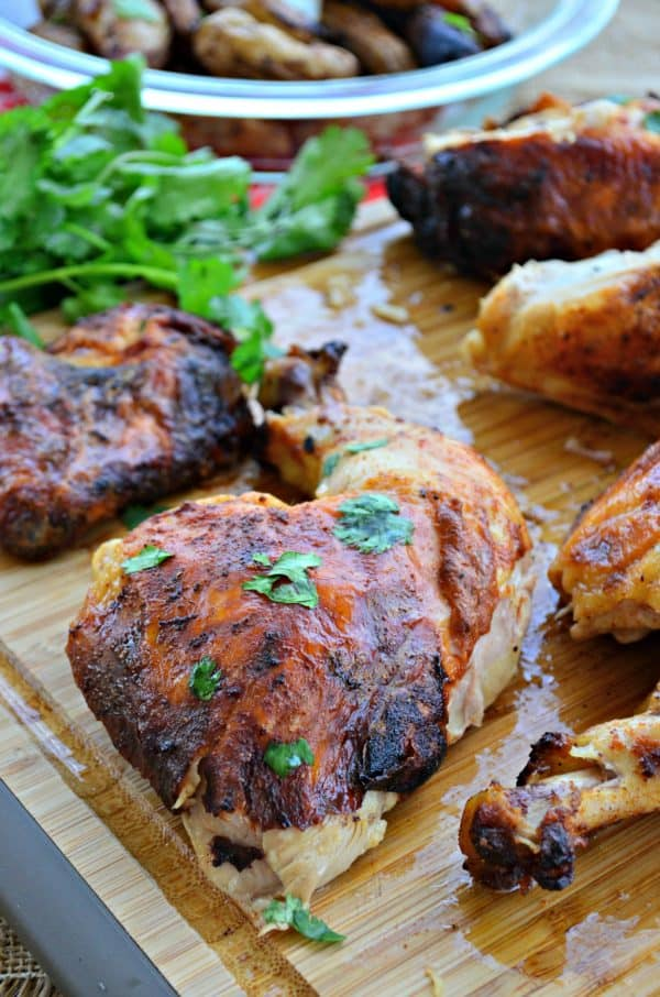 Grilled Tandoori Beer Can Chicken & Vegetables