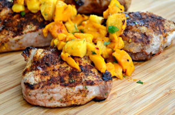 Grilled Southwestern Pork Chops with Mango Peach Salsa