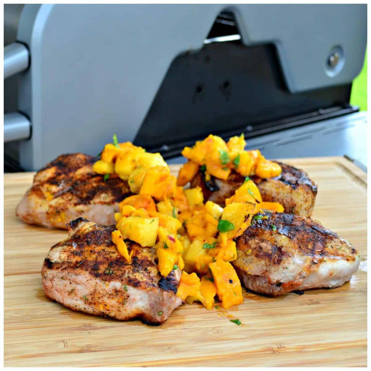 Grilled Southwestern Pork Chops With Mango Peach Salsa
