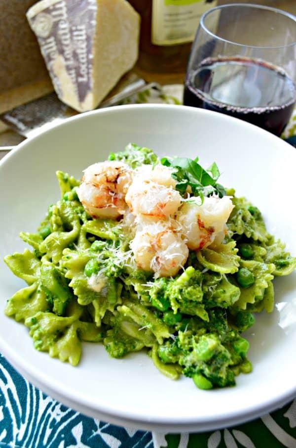 Pesto Pasta with Rock Shrimp