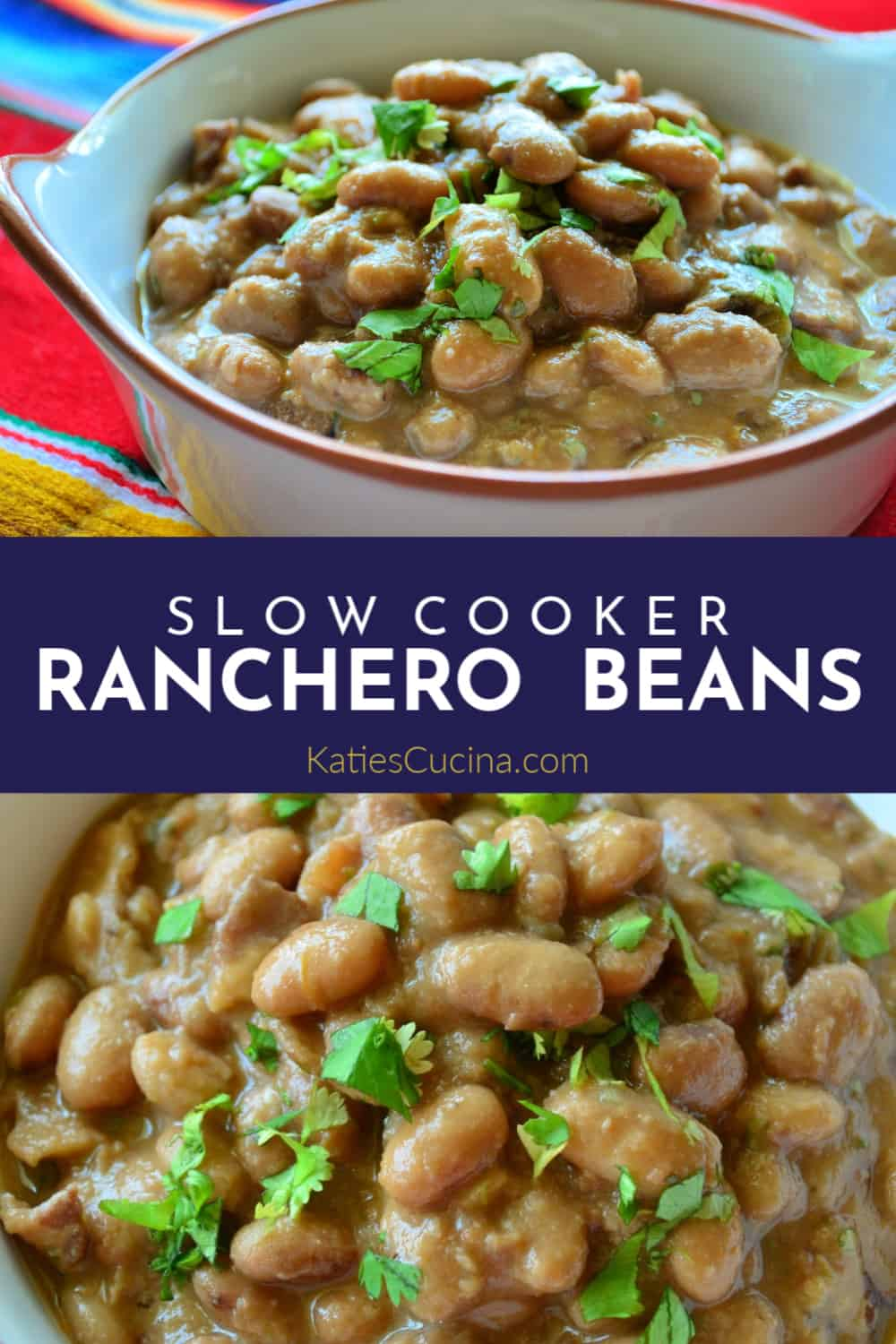 Slow Cooker Ranchero Beans Photo Collage with Text
