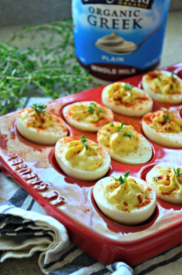 Greek Yogurt Deviled Eggs #StonyfieldBlogger