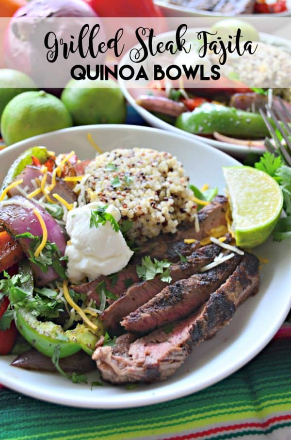 Grilled Steak Fajita Quinoa Bowls #inspiredbybeef #SundaySupper
