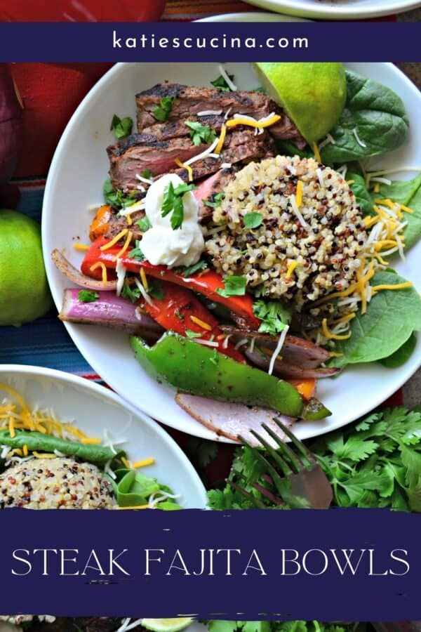 Top view of a white bowl filled with spinach, quinoa, vegetables, and steak with recipe title text on image.