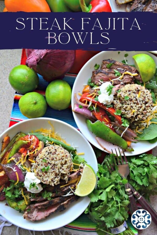 Top view of two white bowls filled with quinoa, steaks, and vegetables with recipe title text on image.
