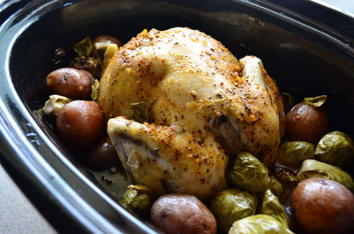 Golden browned chicken topped with herbs in slow cooker with potatoes and brussels sprouts.
