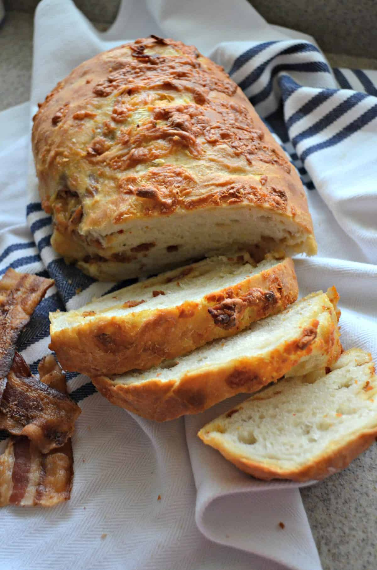 Chipotle Cheddar & Bacon No-Knead Crusty White Bread