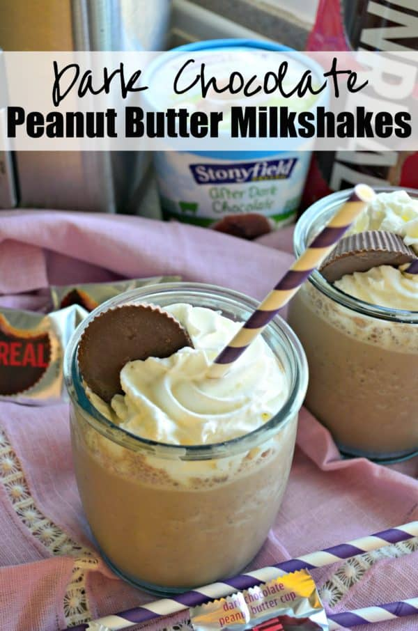 Dark Chocolate Peanut Butter Milkshakes #StonyfieldBlogger