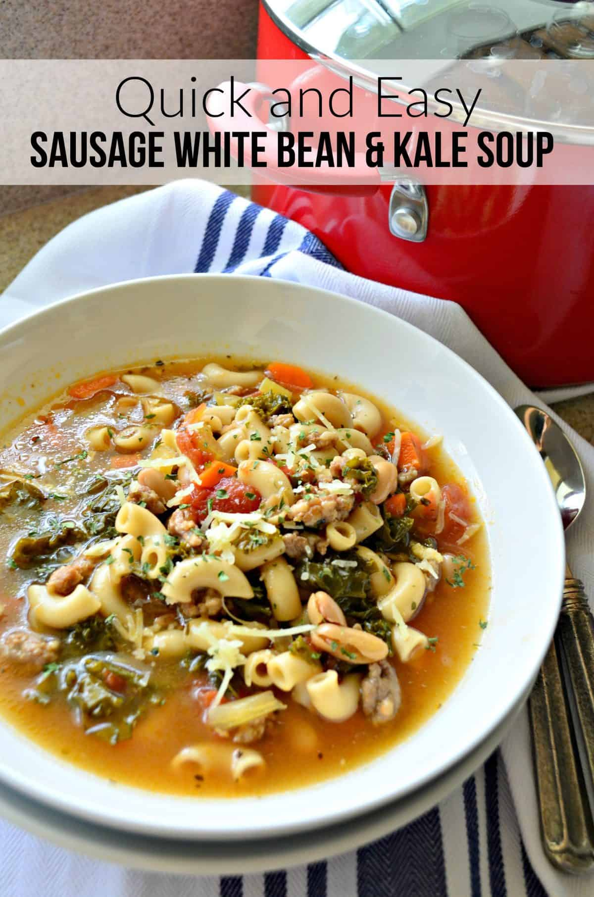 white bowl of soup with macaroni noodles, beans, greens, carrots, and tomatoes with title text.