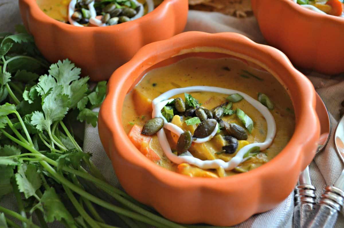 Chipotle Pumpkin Turkey Soup - Katie's Cucina