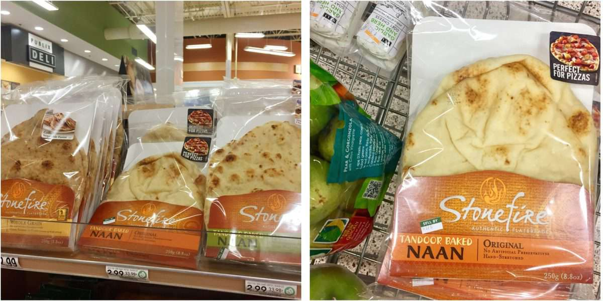 2 photo collage of Stonefire Authentic Flatbreads in store aisle and on shelf.