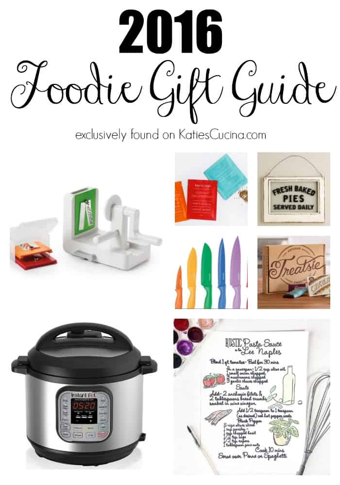 2016 Foodie Gift Guide text with photo collage of kitchen tools found exclusively on KatiesCucina.com.