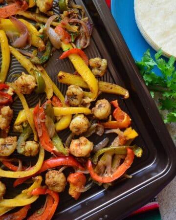 Sheet Pan Citrus Rock Shrimp Fajitas
